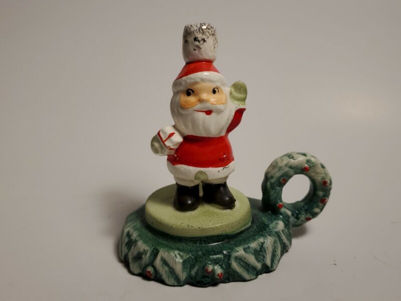 Vintage Lipper Mann Christmas Santa Holly Mini Candleholder Japan
