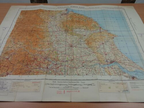 """WW2 (1941) British MILITARY MAP """"ENGLAND NORTH EAST"""" (NOT TO BE PUBLISHED)"""