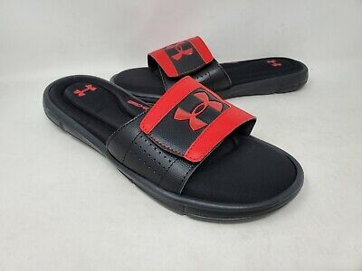 NEW! Under Armour Men's Ignite V Slides Black/Red #1287318 K2C rr