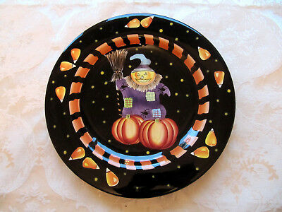 Gates Ware Halloween Scarecrow ceramic salad/sandwich plate by Laurie Gates  (Halloween Plates Ceramic)