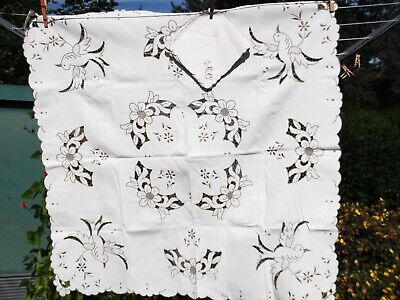 Vintage Embroidered Portuguese  Bird Cut Out Table Cloth & Napkins