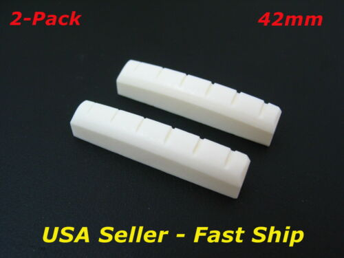 2-Pack 42mm Slotted Bone Nut For Gibson Epiphone Martin Acoustic Electric & More