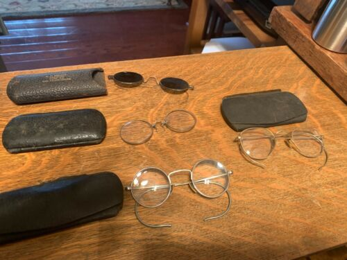 LOT OF 4 ANTIQUE VINTAGE EYE GLASSES SPECTACLES WIRE RIM RIMLESS W/ CASE