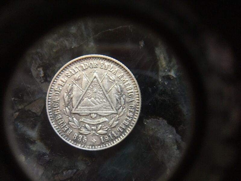 1914 (P) El SALVADOR Silver Coin 10 Centavos KM#125 One Year Type Mint 1,500,000
