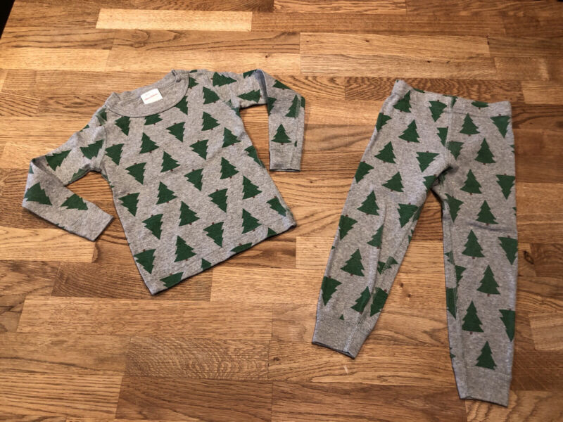 Hanna Andersson 90 3T Christmas Tree Pajamas Organic Long Johns Boys Girls EUC