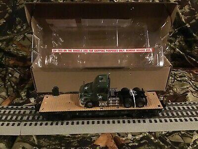 Menards O Gauge Flatcar with U S Army Semi Tractor
