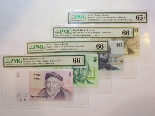 Israel Lot 1 5 10 50 Sheqel 1978 P43a P44 P45 P46b UNC PMG66 65 Jerusalem Herzl