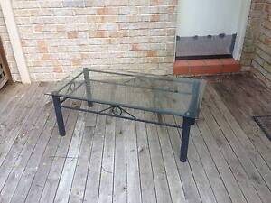 Patio Black Powder Coated Metal And Glass Coffee Table Mount Colah Hornsby Area Preview
