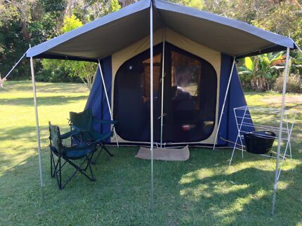 OzTrail Canvas 12person Tent & Extendable Tent Poles | Camping u0026 Hiking | Gumtree Australia Coffs ...