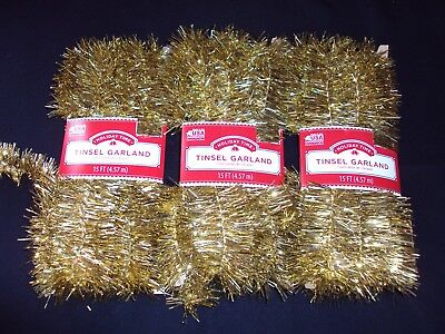 New Lot Of 3 Holiday Time Gold Christmas Tree Tinsel Garland Ornament 45 Ft