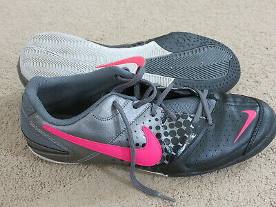 30a35d572c6 EXCELLENT Nike black + gray + pink indoor soccer   turf shoes - mens 11 eu45