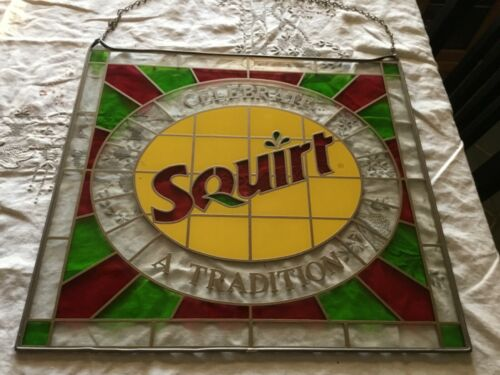 Vintage SQUIRT printed & etched faux stained glass rare 1960
