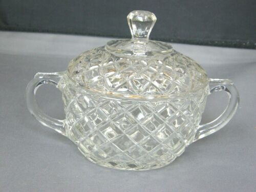 Sugar Bowl w/Cover/Lid~Hocking Glass WATERFORD/WAFFLE Crystal/Clear-Depression