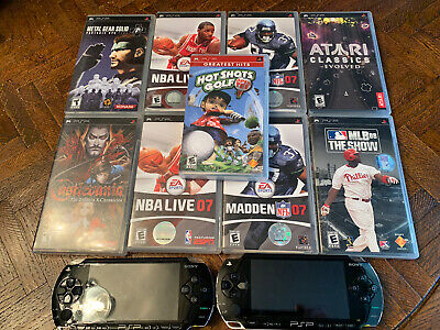 2 Sony PSP 1001 Untested Consoles 9 Games Castlevania Metal Gear No batteries