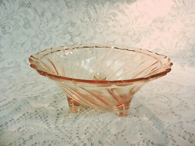 Pink Depression Glass Footed Swirl Bowl Depression Swirl