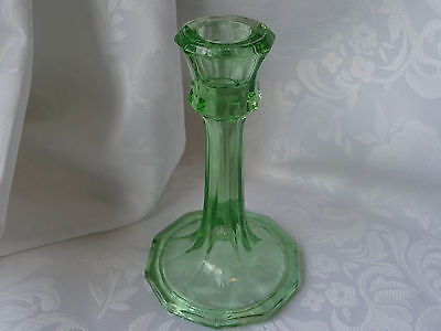Vintage Art Deco Bagley?Sowerby? Green glass Candle stick