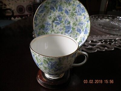Pansy Chintz (Old Royal Blue Pansy Chintz Bone China Cup and Saucer - England - RARE)