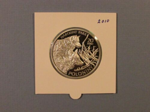 2010 Slovakia 20 Euro Poloniny National Park Large Silver Proof Coin Wild Wolves