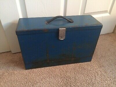 Vintage Blue Metal Fold-out Locking File Storage Box Personal Filing System 16.5