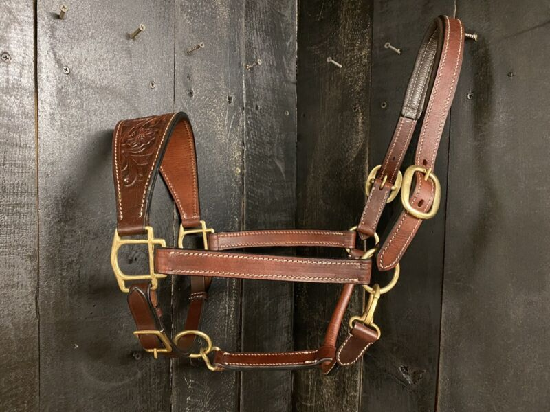 Leather Halter with Floral Tooled Nose Band - Horse Size - Dark Oil