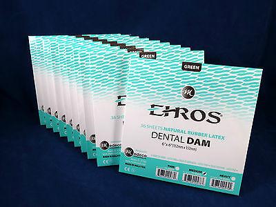 Dental Natural Rubber Dam Green Medium 6 X 6 Sheets Latex Kit 10 Box Ehros