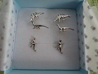 3 Pairs Dinosaur Stud Earrings Brand New In Box by Eternal Collection