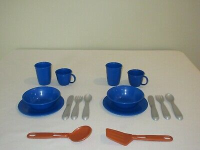 Step 2 Play Kitchen Blue Dishes Plate Bowl Cups Silverware Utensils 16 Pcs