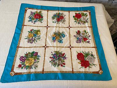 "NICE Gucci SCARF Vintage Cotton Square Neckerchief Floral Design 22""x22"""