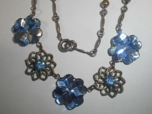 "VAUXHALL CZECHOLOVOSKIA Art Glass 1930""s Art Deco Necklace Antique"