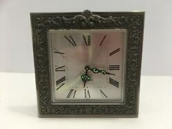 Vintage Bulova Table Clock Silver Metal Frame Made in Japan