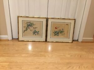 Vintage Asian Chinese paintings on silk
