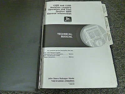 John Deere 410d 510d Backhoe Loader Operation Test Shop Service Repair Manual