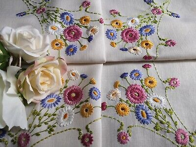 Vintage flower tablecloth handstitched 26 inch  ~ round floral purple pink yellow green