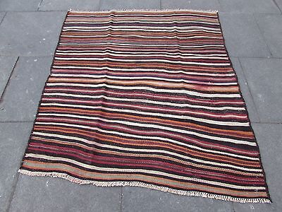 Old Shabby Chic Hand Made Persian Oriental Red Wool Strip kilim Gelim 156x141cm