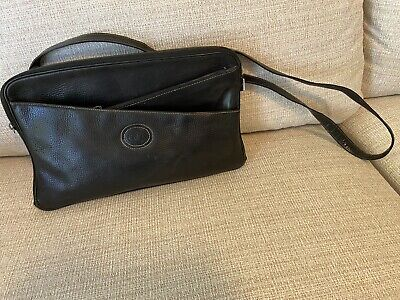 Authentic Vintage Gucci Crossbody Bag Black Leather Zip Top Purse