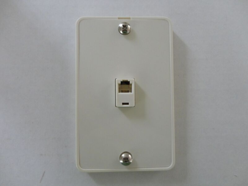 3-Way Modular Phone Jack Wall Plate Surface Mount  Flush Telephone, 4C6P, WHITE