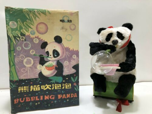 BUBBLING PANDA **Vintage** Tin Toy Battery Operated me781 China. New 1970