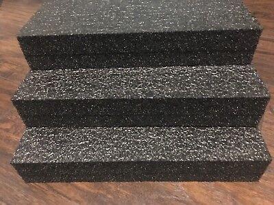 3 Sheets - 12 X 12 X 2 Black Polyethylene Plank Foam 1.7pcf Pe
