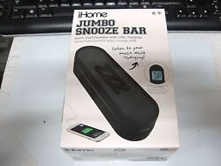 Ihome Im14bc Jumbo Snooze Bar Alarm Clock SPEAKER Usb Charging black NEW BLK