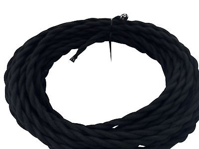 Black Twisted 18/2 Cotton Cloth Covered Cord - 25' Antique Wire - 18 Gauge 2 18' Black Twisted Cord