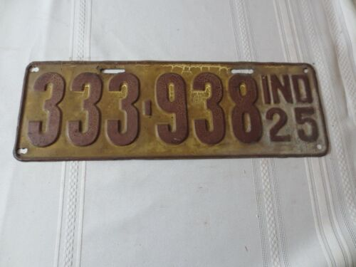 1925 INDIANA LICENSE PLATE 333-938