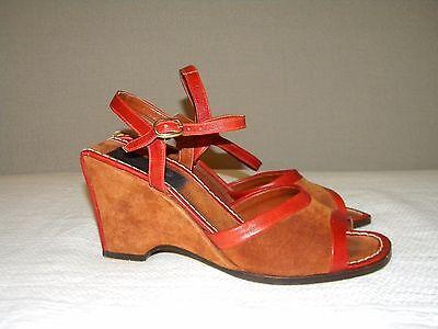 Vintage Garolini Rust Suede Wedge Heels Shoes Sz 7.5 N Made in Italy
