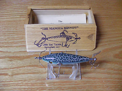Little Sac Bait Co Niangua Minnow Glasseye Lure n Green Crackle Color Wooden Box