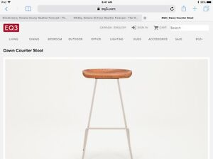 """Counter height stools, EQ3 """"Dawn"""", $ 150 each of four."""