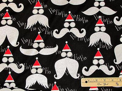 Winter Novelties Santa's Mustache on Black Christmas Fabric by the 1/2 Yrd #4956 (Mustache Novelties)