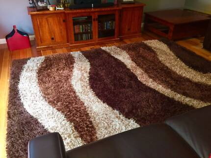 XL Shaggy Floor Rug Brown Modern Design Carpet Mat 280 x 190