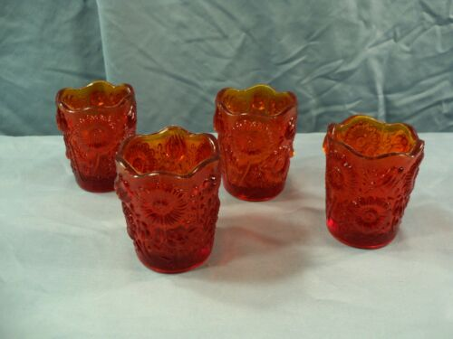 Lot of 4 Amberina Red Glass Votive Candle Holders w/ Floral Design