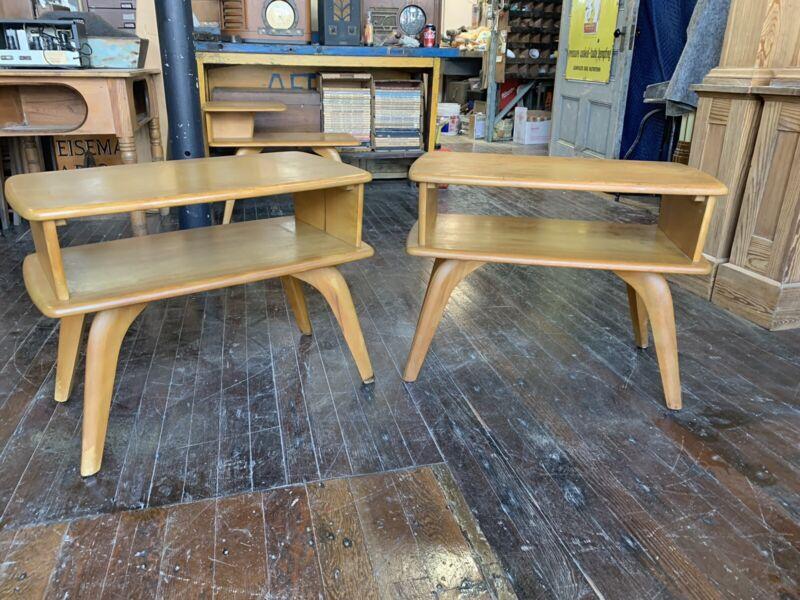 Pair Vintage Heywood Wakefield 391-G Side Tables End MCM 1950's