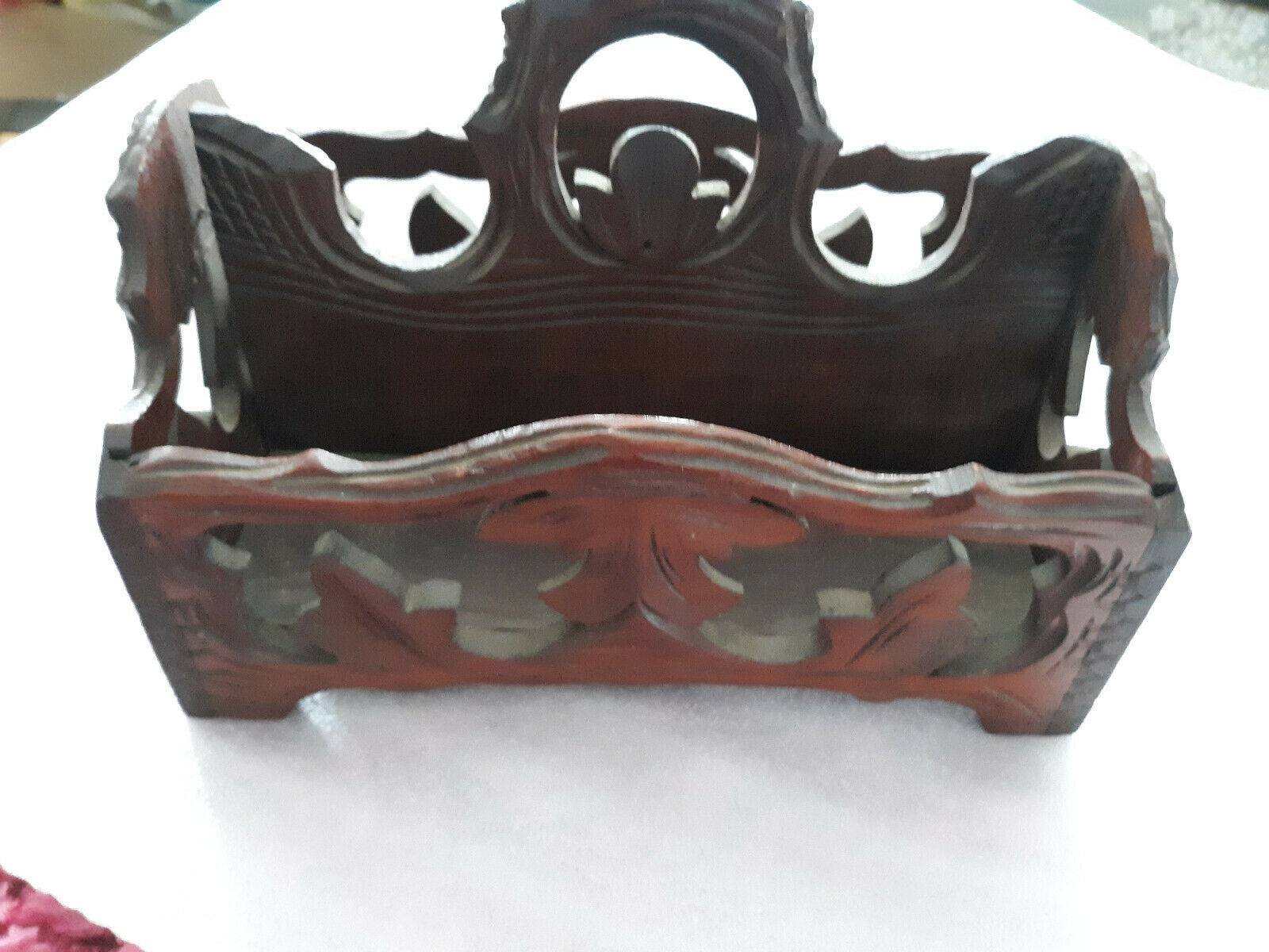 Vintage German Black Forest Wood Carved Desk Letter Pencil Holder Cutlery Tray - $149.00