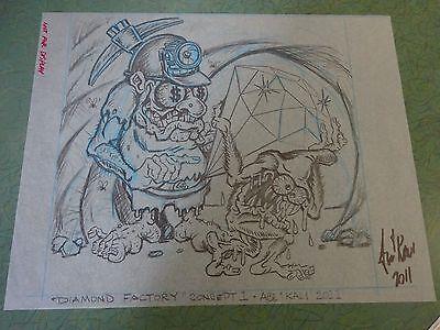 """DIAMOND FACTORY"" JOHNNY ACE ORIGINAL VELLUM CONCEPT RAT FINK ED BIG DADDY ROTH"